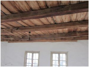 furniture in traditional Bulgarian home-wooden beams at ceiling