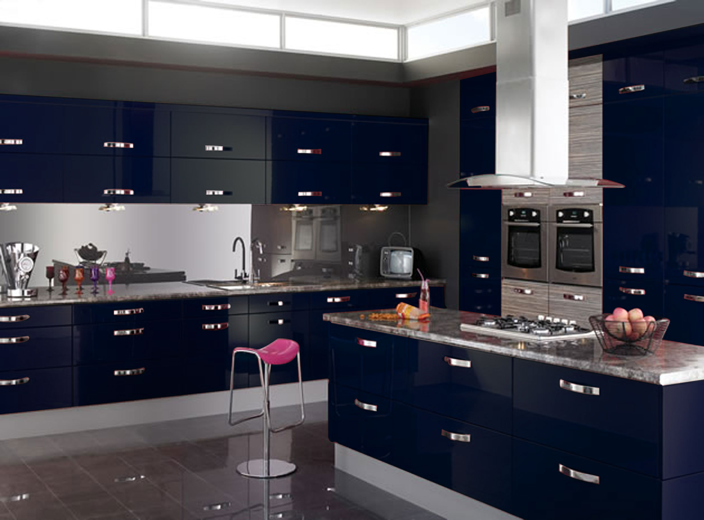 Colourful kitchen dare to experiment with colours for Black gloss kitchen ideas